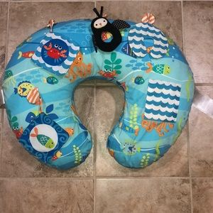 Boppy Pillow with Nautical Themed Cover and Toys